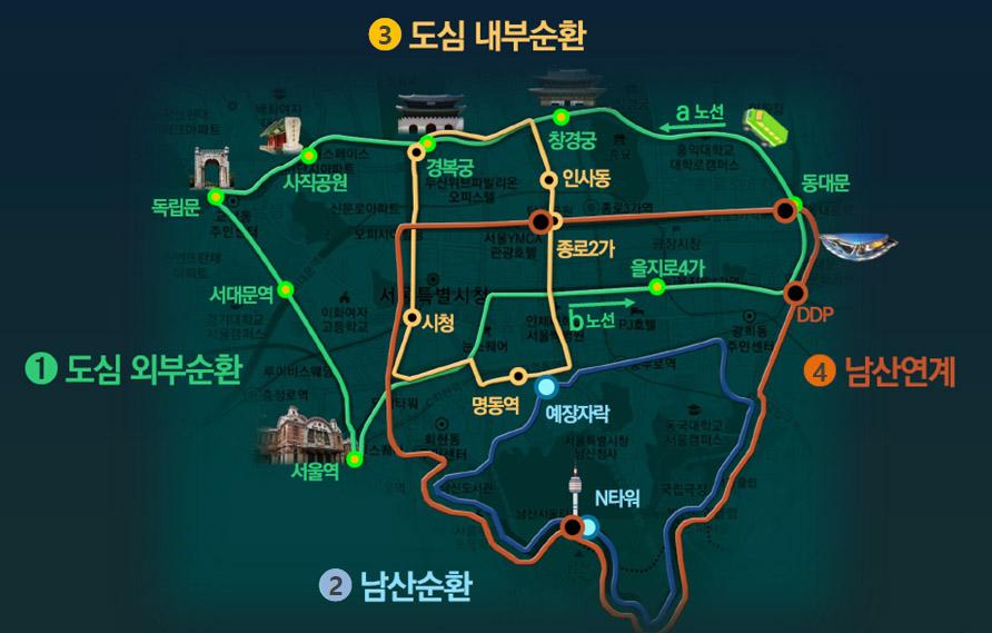 서울 도심 주요지점 연결 `녹색순환버스` 4개 노선 29일 운행개시
